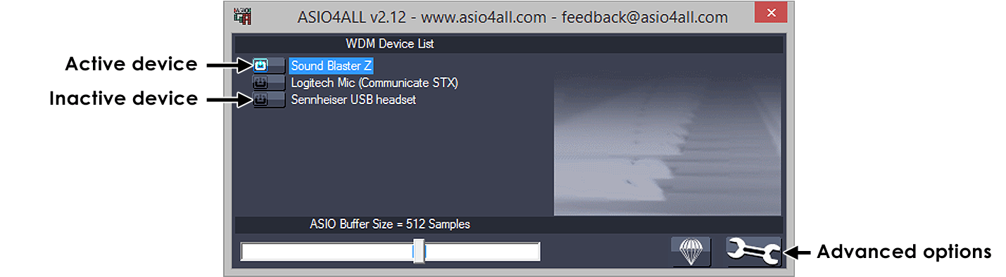 Audio Settings ASIO4ALL