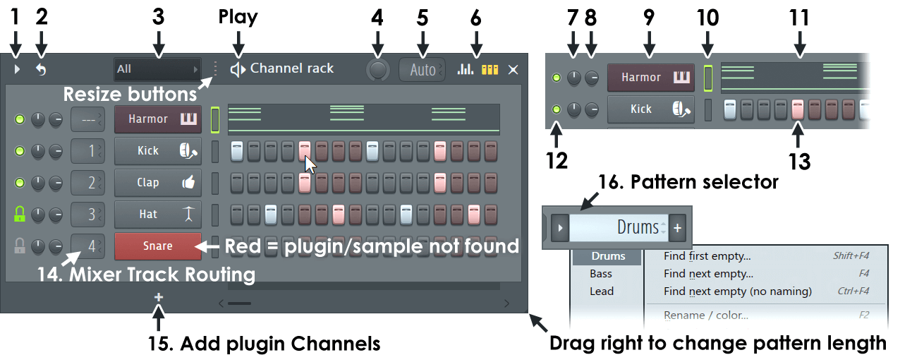 Channel Rack & Step Sequencer