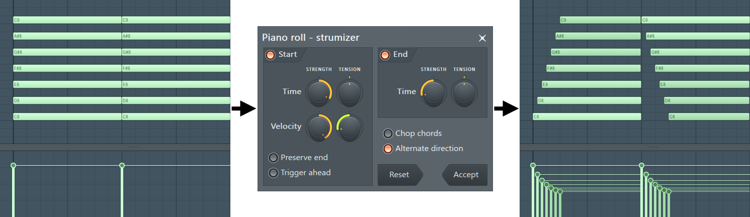 Piano roll Strum Tool