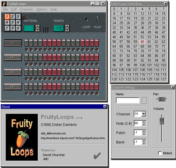 Fruityloops 1.0 graphical user interface