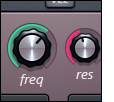 Detail image of the Harmless plugin user interface - frequency and resonance buttons