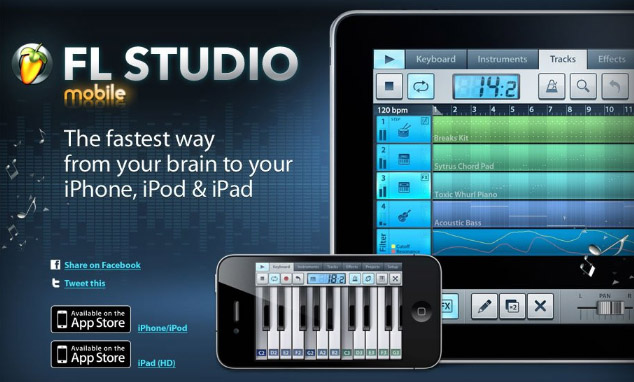 heading image of the FL Studio Mobile web site showing the app interface