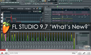 image of the FL Studio 9.7 beta interface. Link to the news item about the new version.