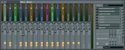 Image of the new FL Studio 9 Wide Mixer user interface.