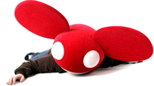 DeadMau5 with red DeadMau5 mask lying on the ground