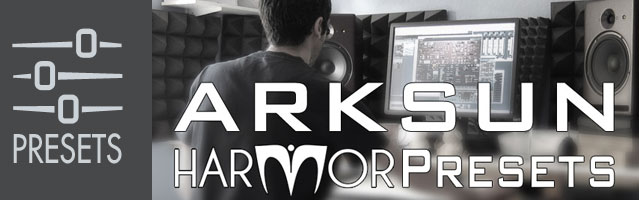 Image of Arksun working at his desk - Harmor Free Presets - only free download available online - no cd included.
