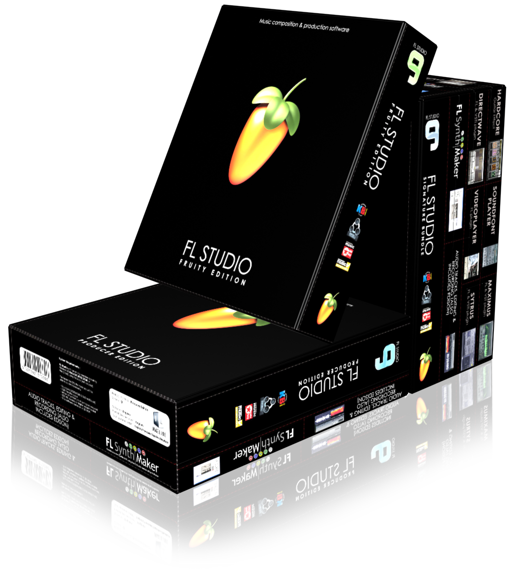 FL Studio 9 boxes stacked